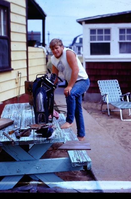 A look back at Capt. Bob in his earlier days - always fixing something!